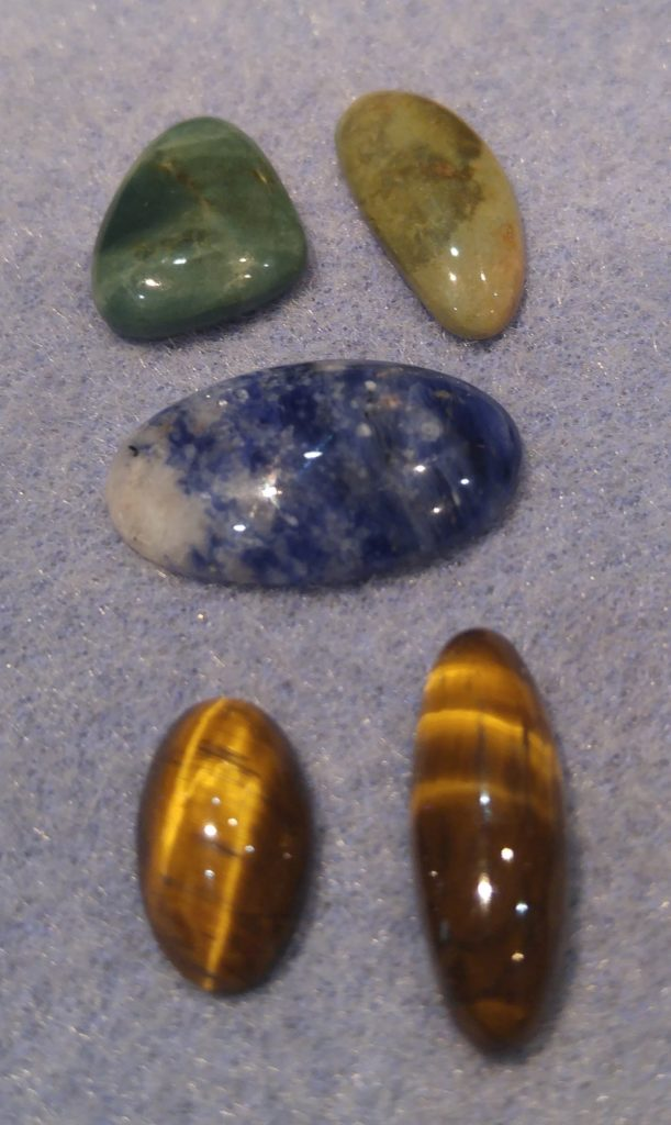 Green Jasper, Sodalite and Tiger Eye Cabs
